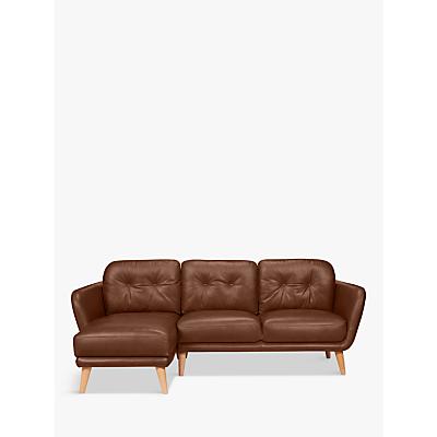 House by John Lewis Arlo Leather LHF Chaise End Sofa, Dark Leg