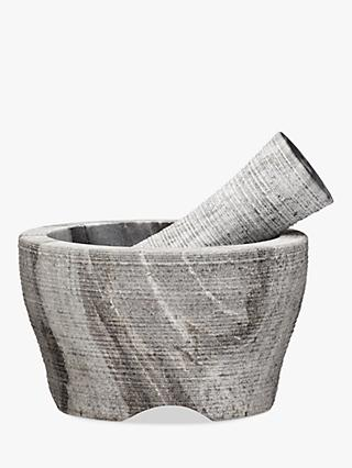 John Lewis & Partners Grey Marble Pestle and Mortar, Dia.14cm