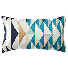 Buy west elm Layered Diamonds Applique Cushion, Teal Online at johnlewis.com