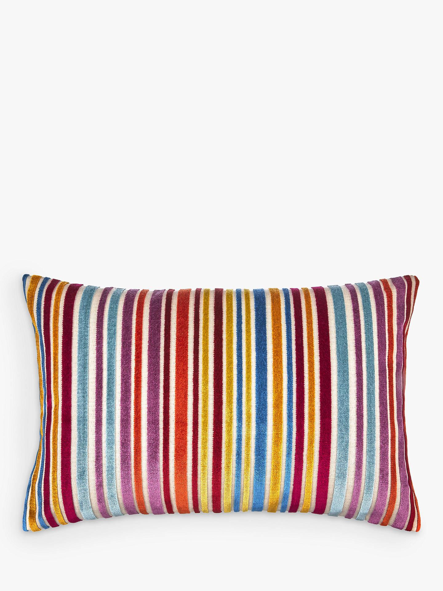 John Lewis Amp Partners Velvet Stripe Cushion Multi At John