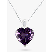 Buy EWA 9ct White Gold Amethyst Heart Pendant Necklace, Purple Online at johnlewis.com