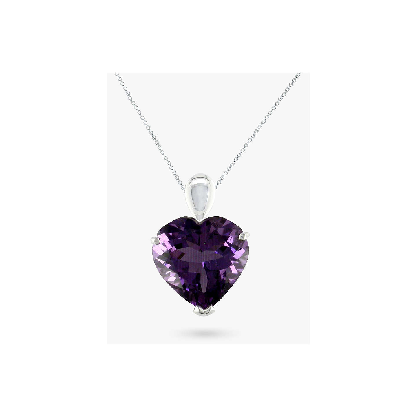 Ewa 9ct white gold amethyst heart pendant necklace purple at john lewis buyewa 9ct white gold amethyst heart pendant necklace purple online at johnlewis mozeypictures Gallery