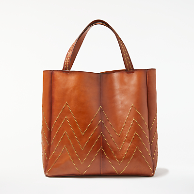 AND/OR Isabella Leather Stud Tote Bag, Tan