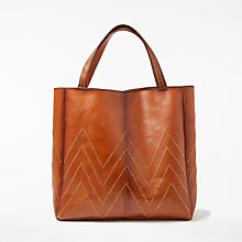Buy AND/OR Isabella Leather Stud Tote Bag, Tan Online at johnlewis.com
