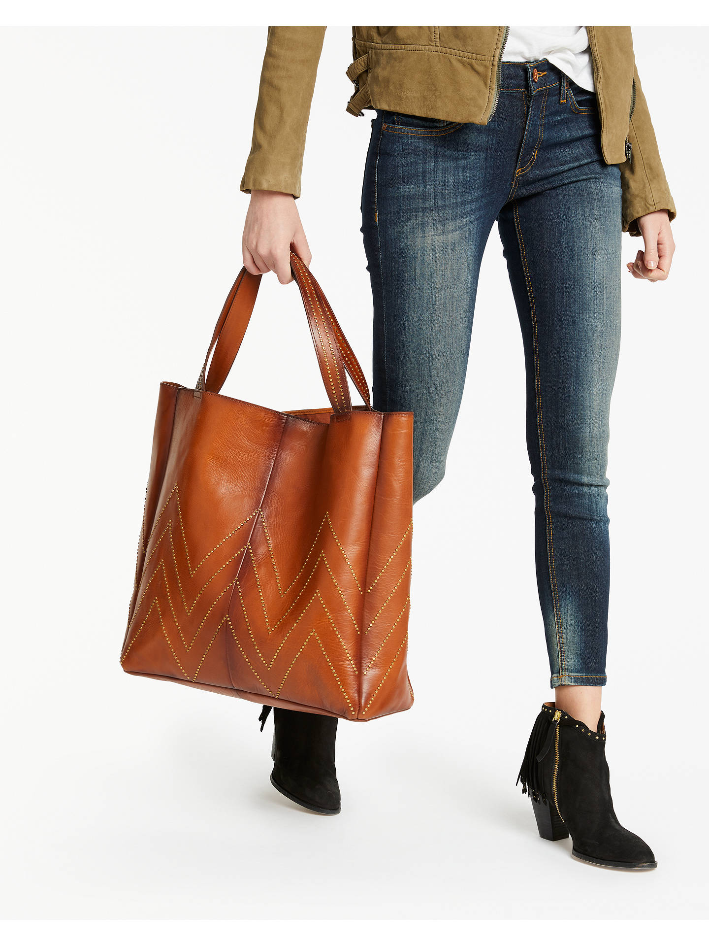 BuyAND/OR Isabella Leather Stud Tote Bag, Tan Online at johnlewis.com