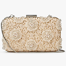 Buy John Lewis Stella Floral Box Clutch Bag, Nude Online at johnlewis.com