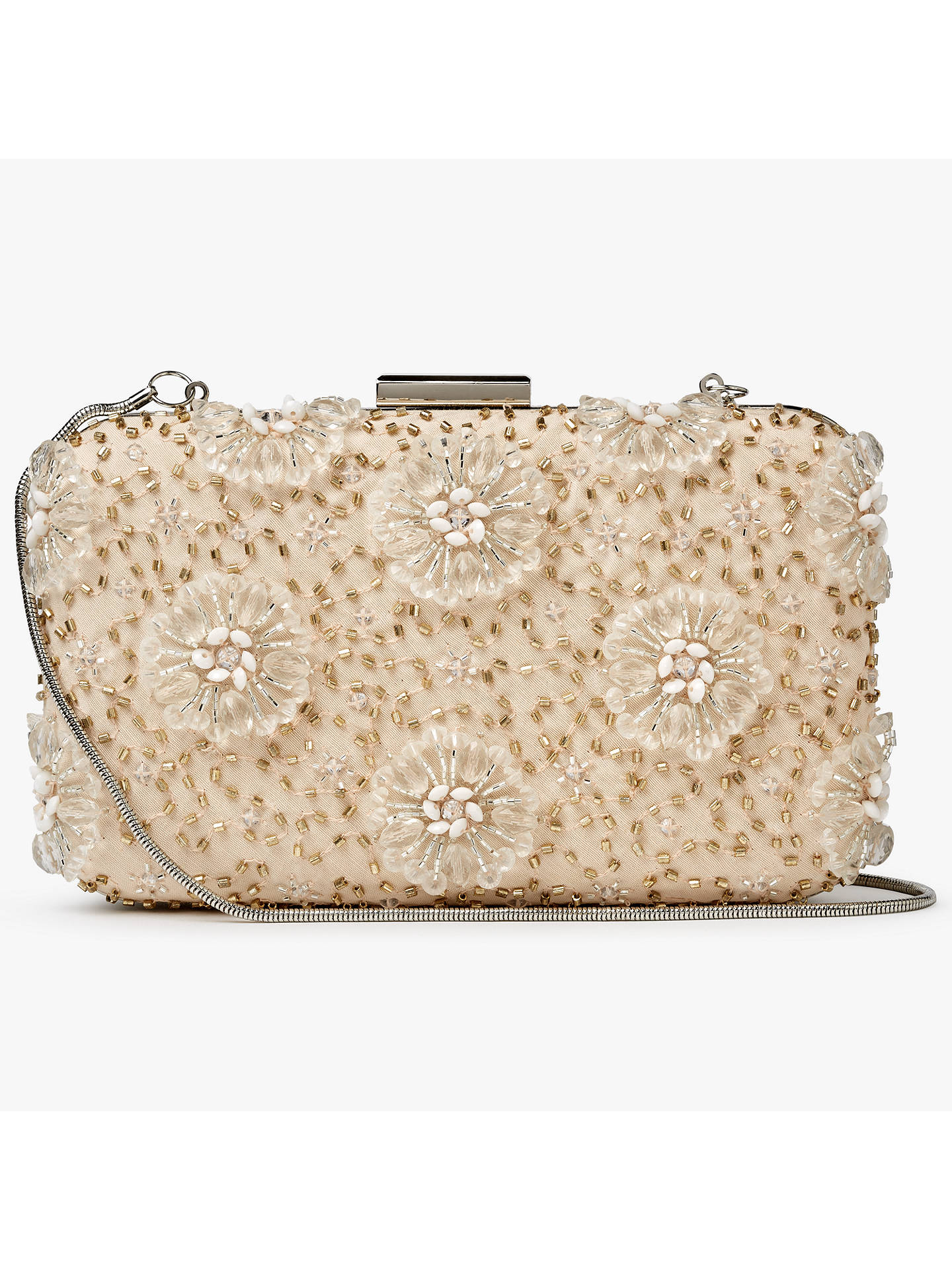 BuyJohn Lewis & Partners Stella Floral Box Clutch Bag, Nude Online at johnlewis.com