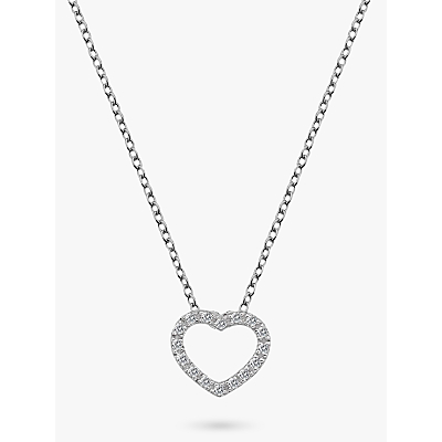 Image of            Hot Diamonds Bliss Diamond and White Topaz Heart Pendant Necklace, Silver