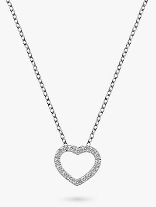 Hot Diamonds Bliss Diamond and White Topaz Heart Pendant Necklace, Silver