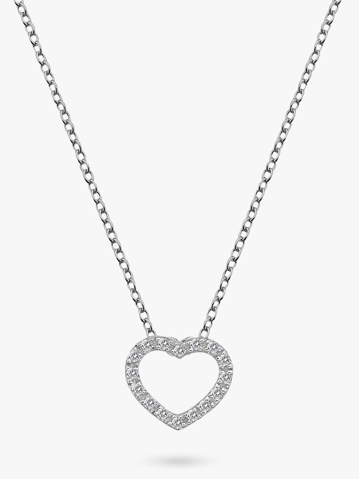 Hot Diamonds Hot Diamonds Bliss Diamond and White Topaz Heart Pendant Necklace, Silver