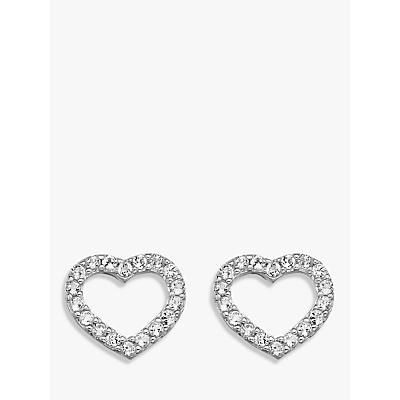Image of            Hot Diamonds Bliss Diamond and White Topaz Heart Stud Earrings, Silver