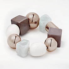 Buy John Lewis Beaded Stretch Bracelet, Rose Gold/Grey Online at johnlewis.com