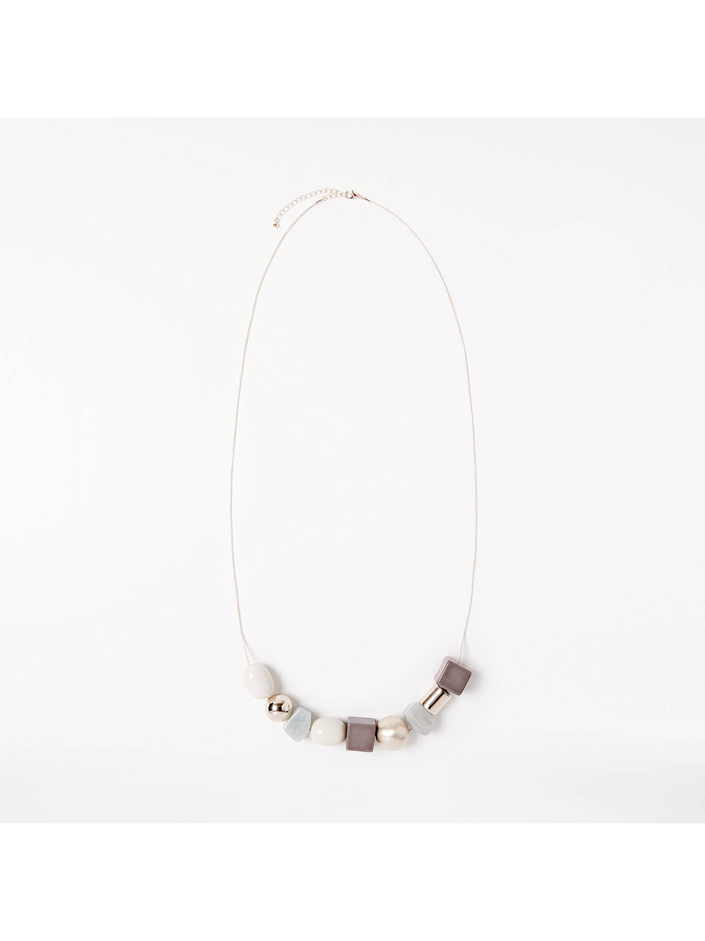 Buy John Lewis Long Geometric Bead Chain Necklace, Rose Gold/Grey Online at johnlewis.com