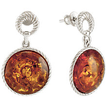 Buy Be-Jewelled Round Amber Drop Earrings, Cognac Online at johnlewis.com