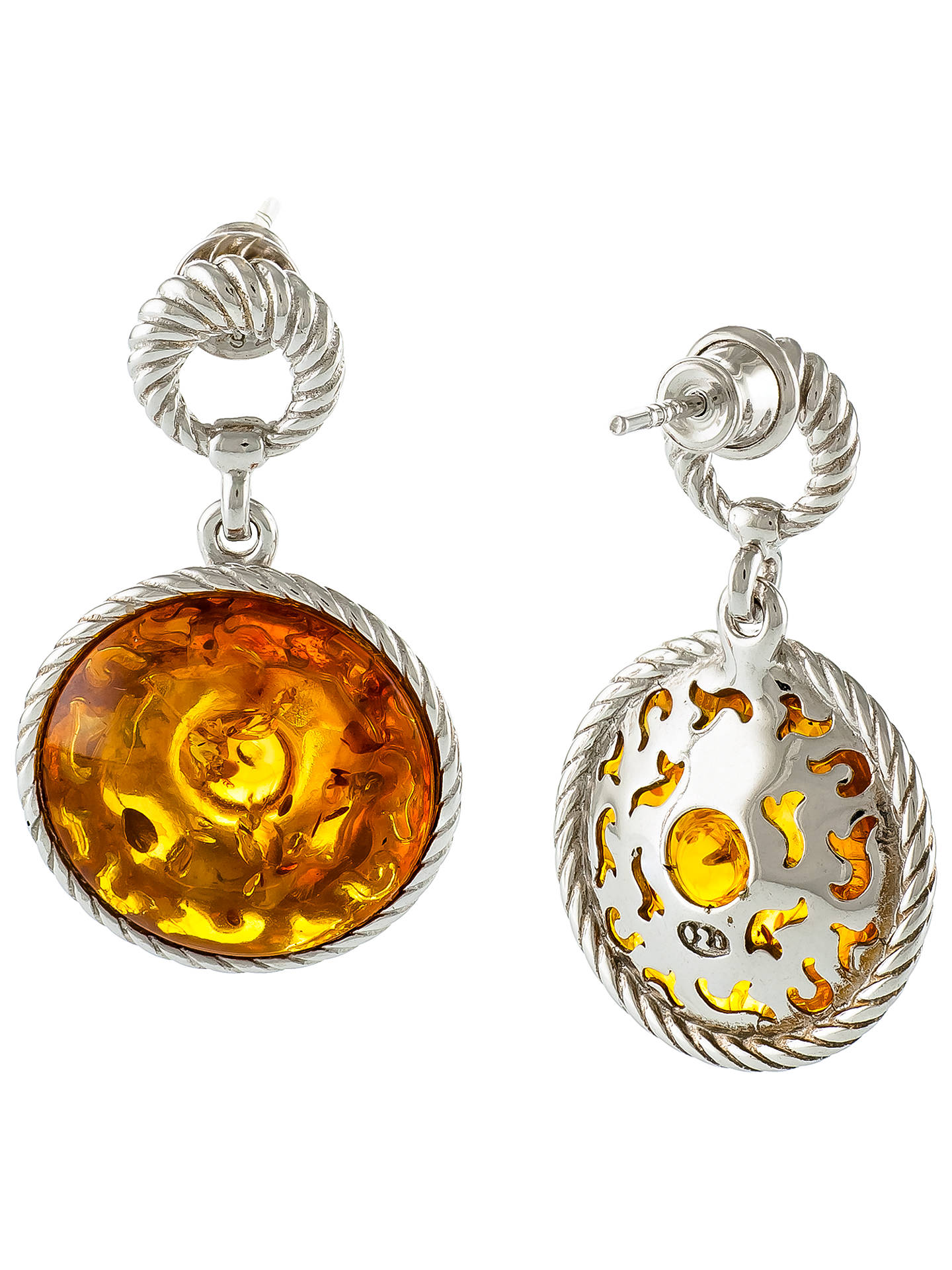 BuyBe-Jewelled Round Amber Drop Earrings, Cognac Online at johnlewis.com
