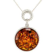 Buy Be-Jewelled Round Amber Pendant Necklace, Cognac Online at johnlewis.com