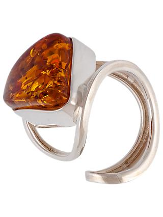 Be-Jewelled Sterling Silver Triangular Baltic Amber Ring