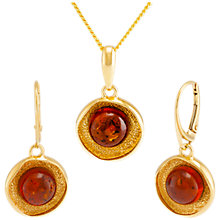 Buy Be-Jewelled Amber Textured Round Pendant Necklace and Drop Earrings Gift Set, Gold/Cognac Online at johnlewis.com