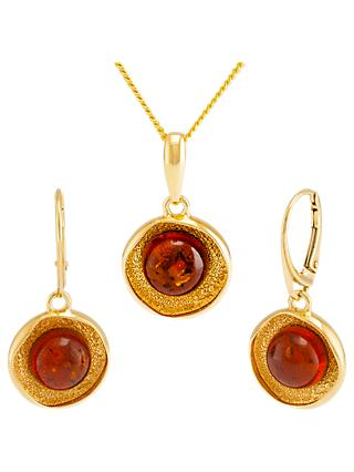 Be-Jewelled Amber Textured Round Pendant Necklace and Drop Earrings Gift Set, Gold/Cognac