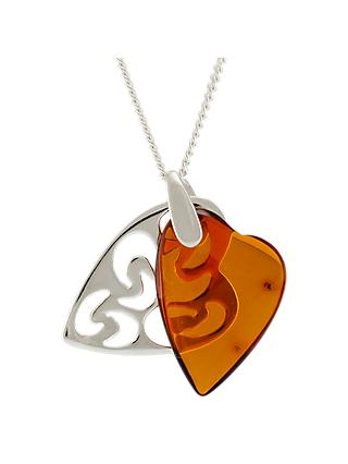 Be-Jewelled Amber Filigree Double Heart Pendant Necklace, Cognac