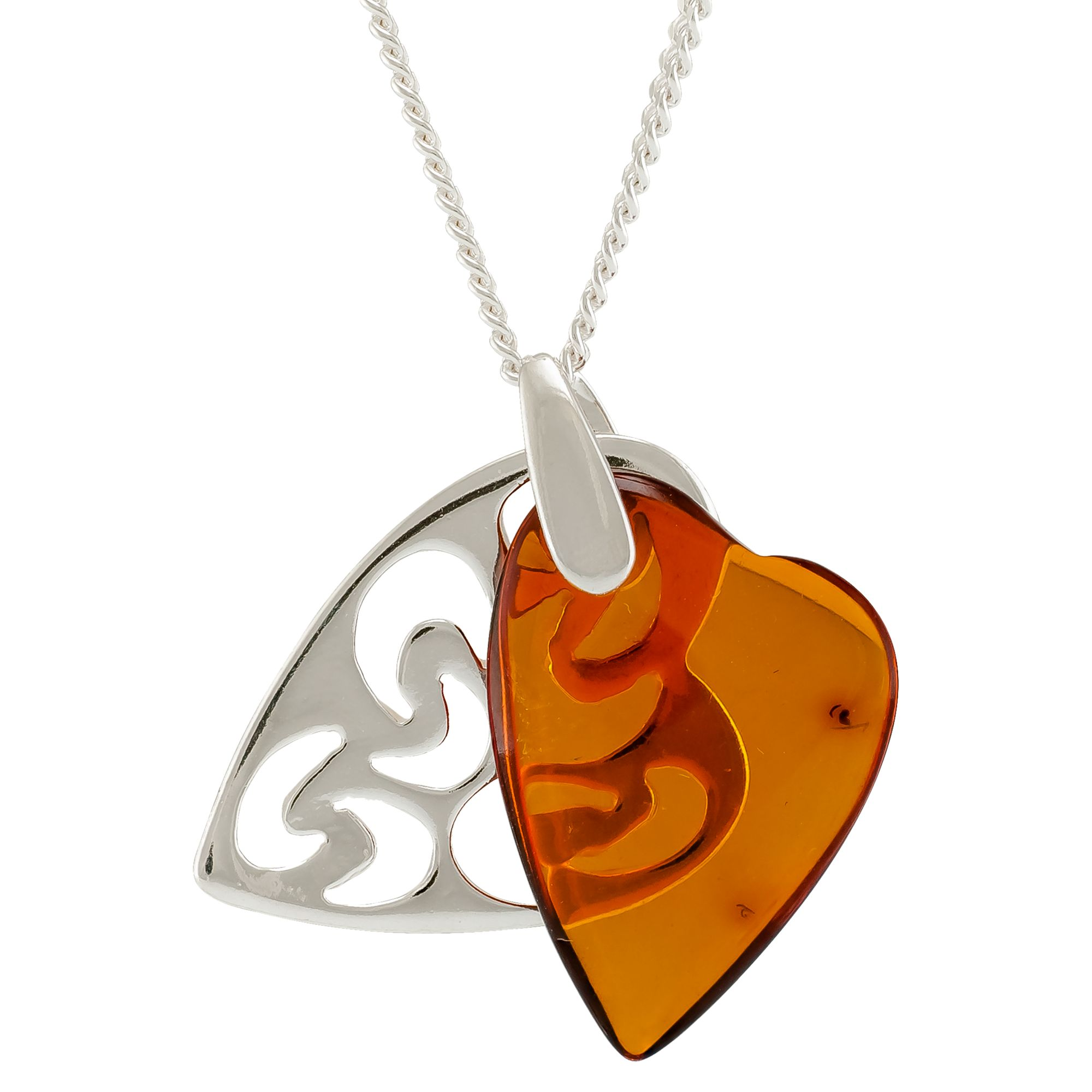 Be-Jewelled Be-Jewelled Amber Filigree Double Heart Pendant Necklace, Cognac
