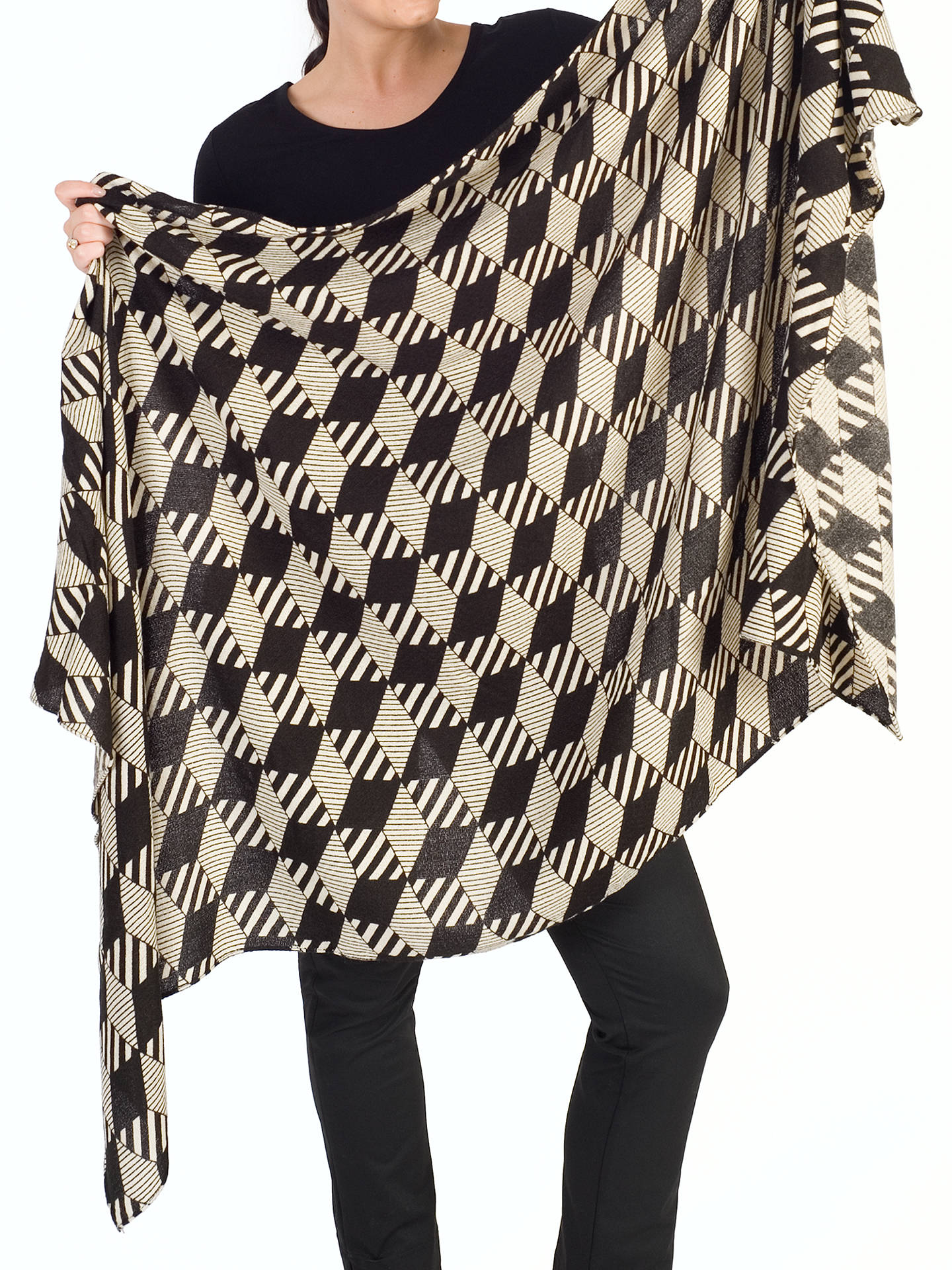 Buy Chesca Abstract Striped Scarf, Black/Ecru Online at johnlewis.com