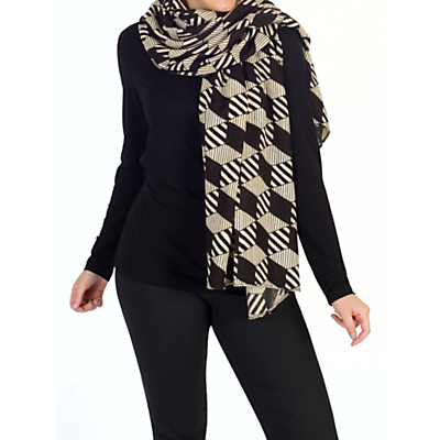 Chesca Abstract Striped Scarf, Black/Ecru