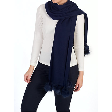 Buy Chesca Faux Fur Pom Pom Fringed Scarf Online at johnlewis.com