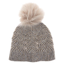 Buy Mint Velvet Metallic Cable Knit Hat, Light Brown Online at johnlewis.com