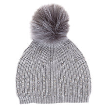Buy Mint Velvet Studded Detail Pom Pom Hat, Light Grey Online at johnlewis.com