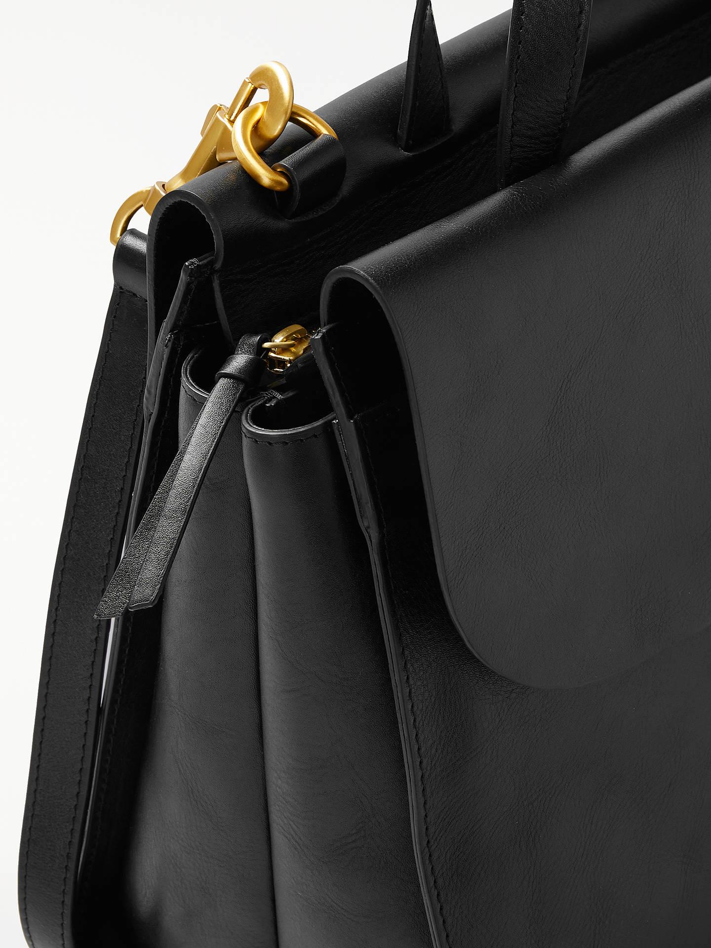 Leather Work Tote Bag Black
