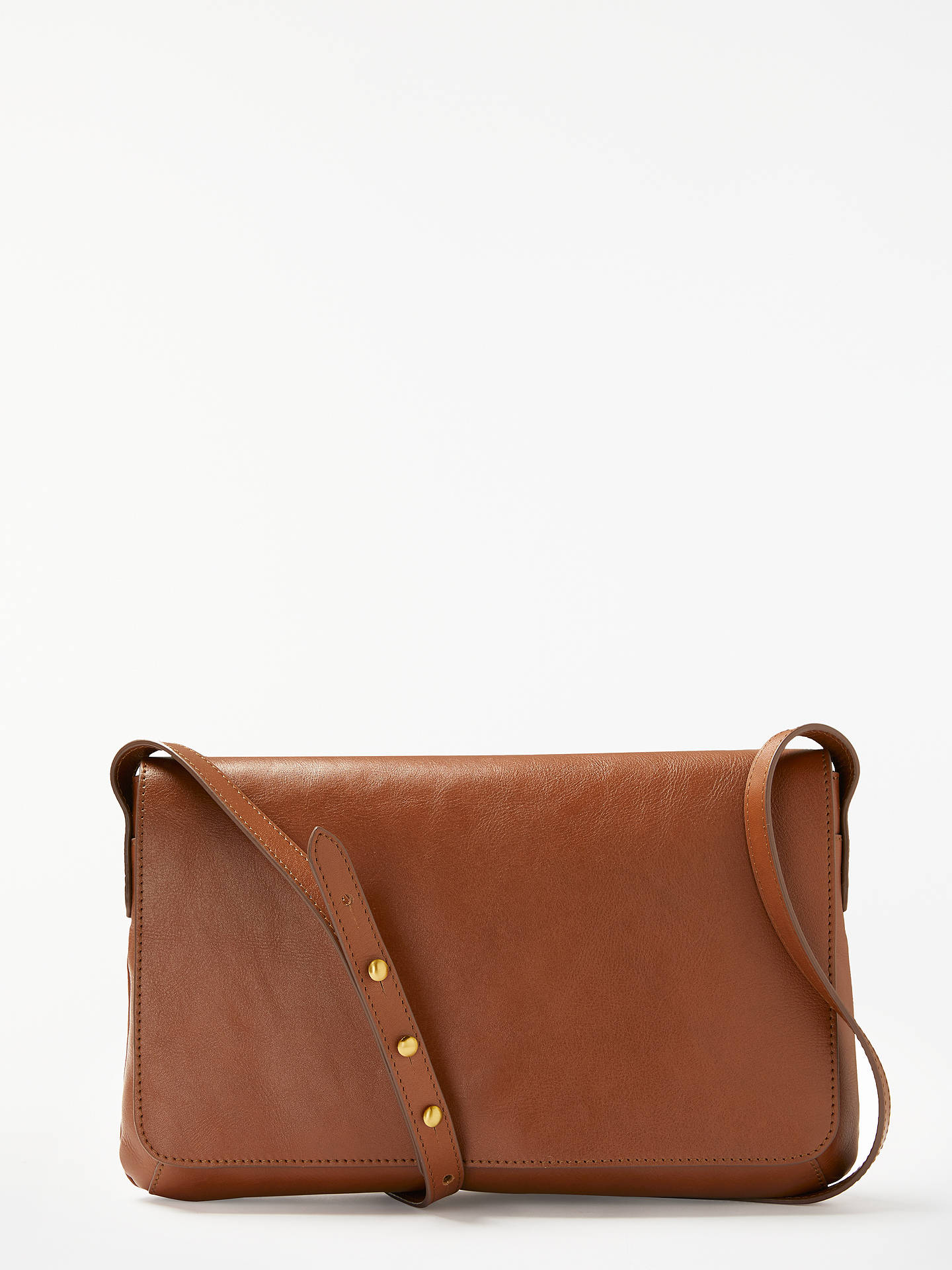 John Lewis Partners Rosa Flapover Leather Cross Body Bag Tan Online At Johnlewis