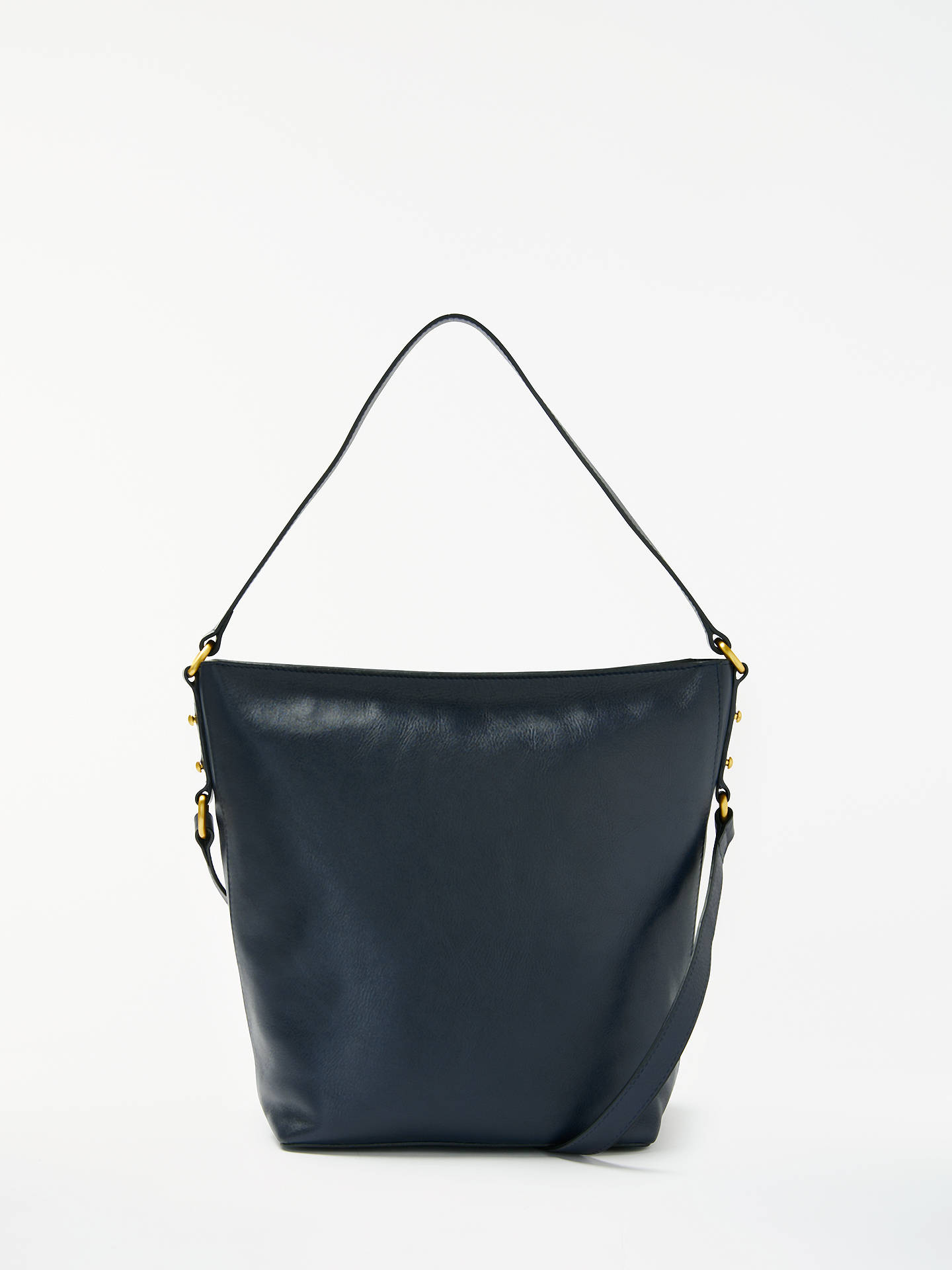 John Lewis Partners Rosa Leather Bucket Bag Navy Online At Johnlewis