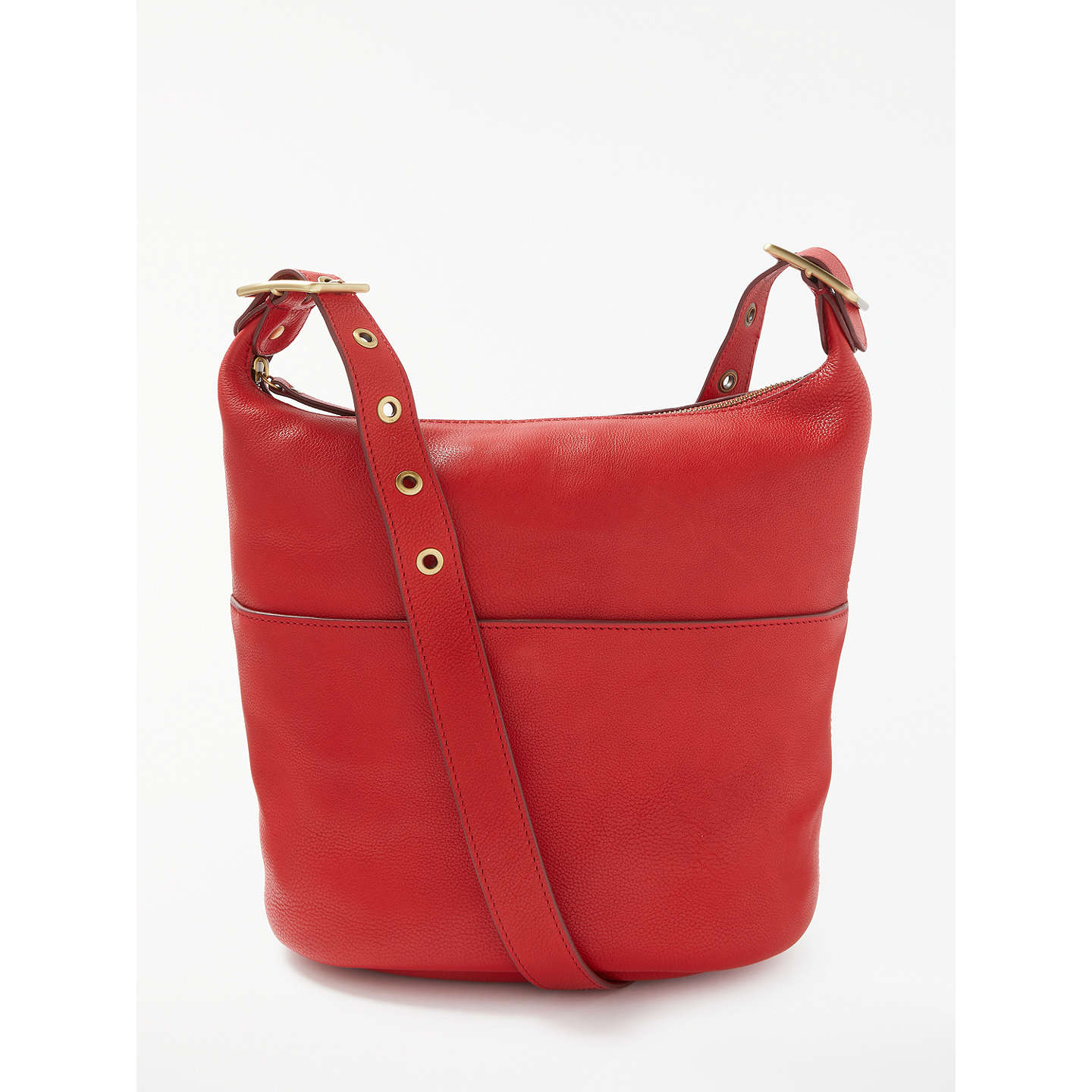 Buyjohn Lewis Kepley Leather Shoulder Bag, Red Online At Johnlewiscom