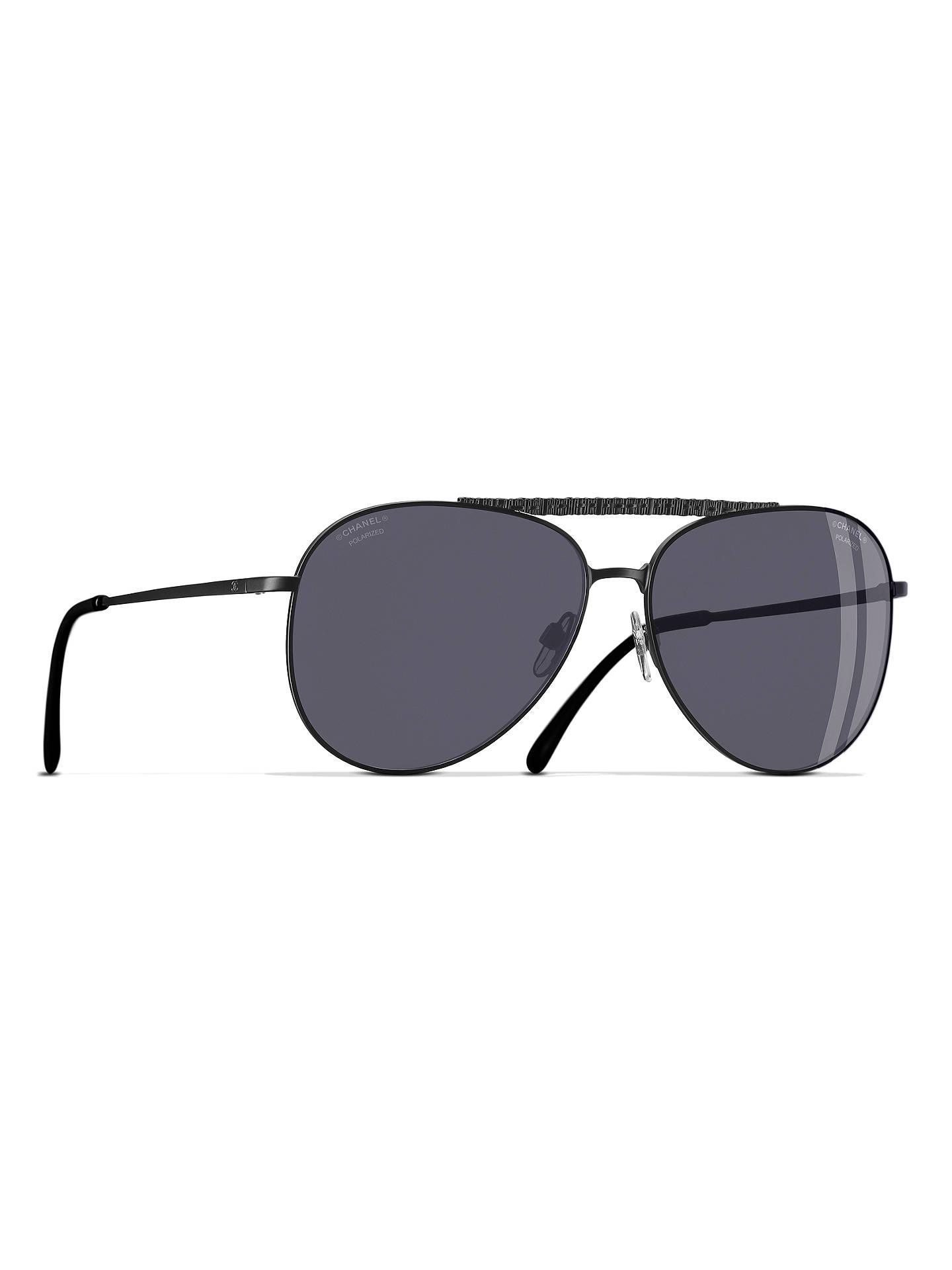 5587029049 Buy CHANEL Polarised Pilot Sunglasses CH4231 Black Online at johnlewis.com  ...