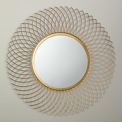 John Lewis Sita Wire Mirror, Dia.66cm, Gold