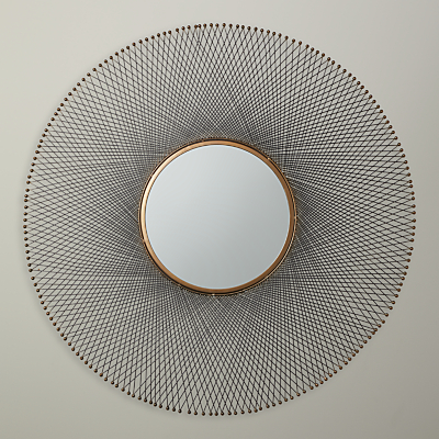 John Lewis Spindle Wire Round Mirror, Dia.45.5cm, Brown