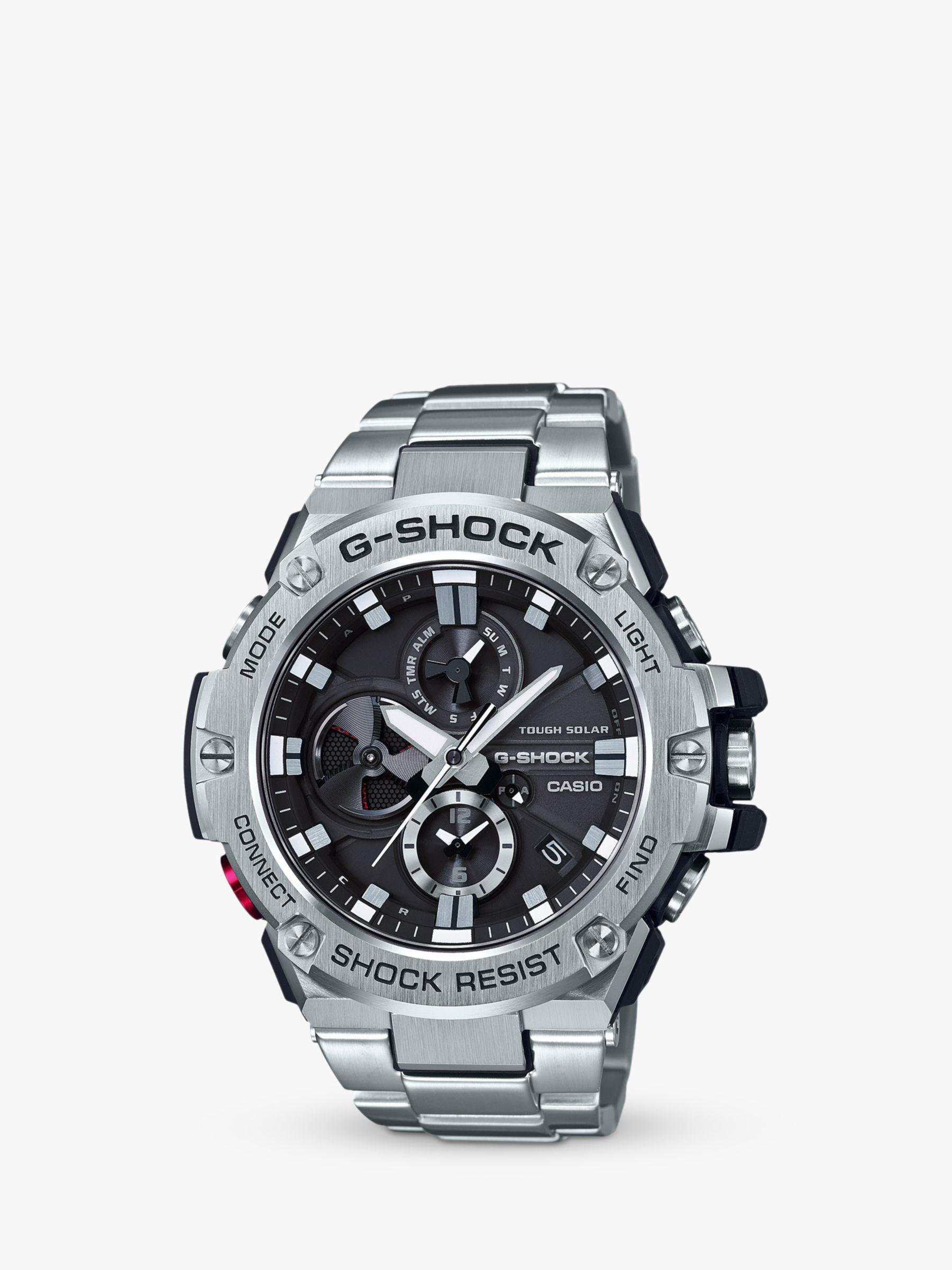 Casio Casio GST-B100D-1AER Men's G-Shock Chronograph Day Date Bracelet Strap Watch, Silver/Black