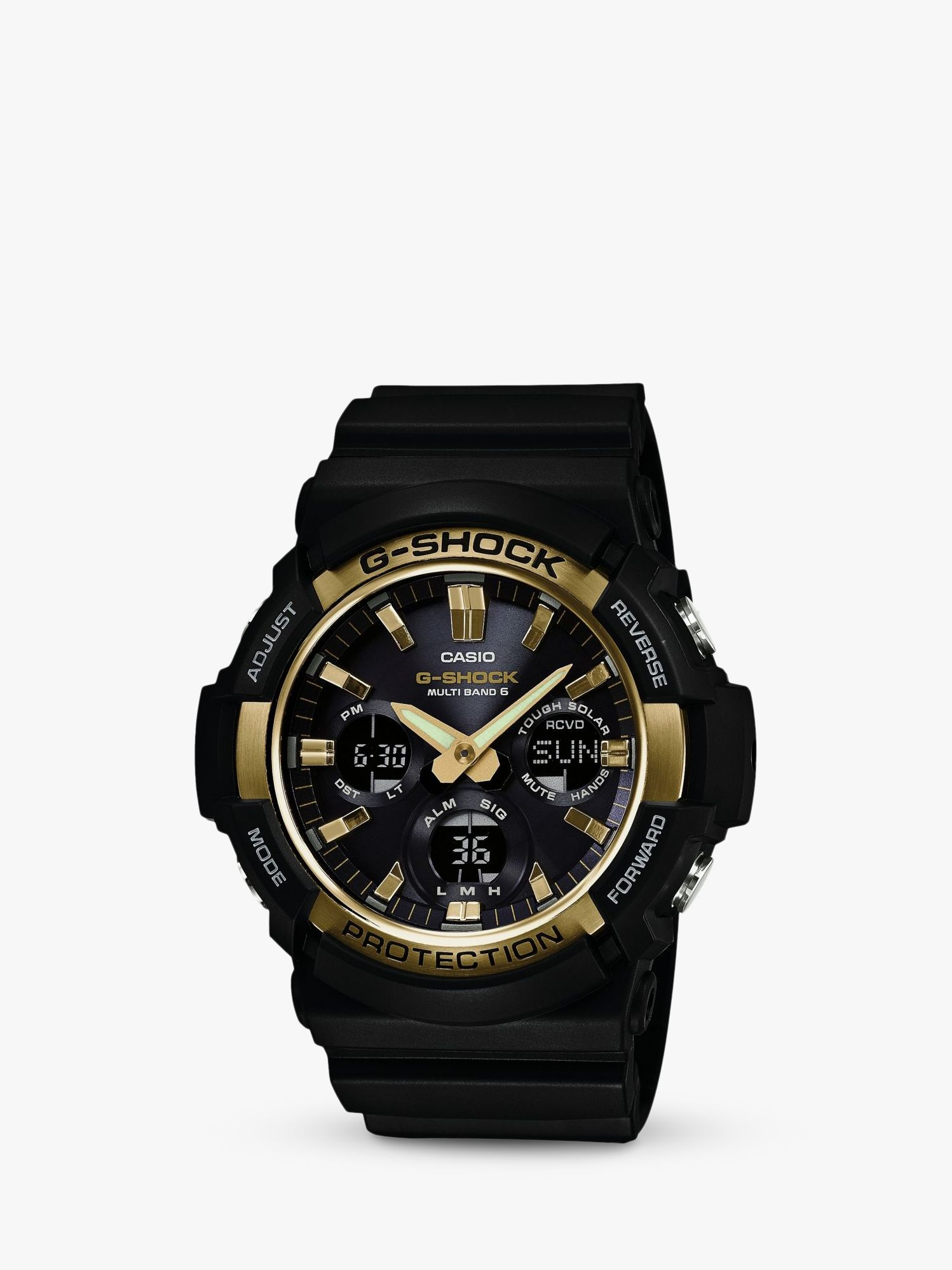 70c2bdfa78c Casio GAW-100G-1AER Men's G-Shock Day Resin Strap Watch, Black/Midnight  Blue at John Lewis & Partners