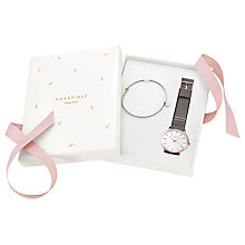 Buy ROSEFIELD W5WS-X176 Women's Leather Strap Watch and Bangle Gift Set, Grey/White Online at johnlewis.com