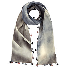 Buy Jigsaw Sally Faded Pom Scarf, Blue Online at johnlewis.com