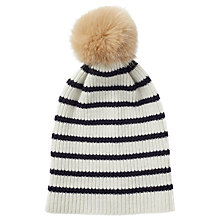 Buy Jigsaw Islay Wool Breton Striped Pom Hat Online at johnlewis.com