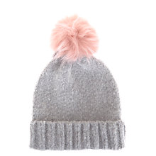 Buy Mint Velvet Brushed Texture Pompom Hat, Silver Grey/Baby Pink Online at johnlewis.com