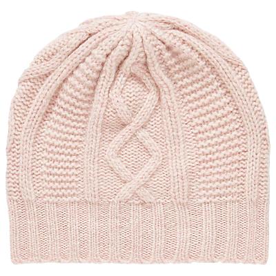 Brora Cashmere Aran Knit Beanie Hat, One Size, Carnation