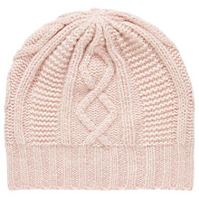 Buy Brora Cashmere Aran Knit Beanie Hat, One Size, Carnation Online at johnlewis.com