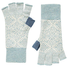 Buy Brora Cashmere Nordic Fingerless Gloves, Haar/Swan Online at johnlewis.com