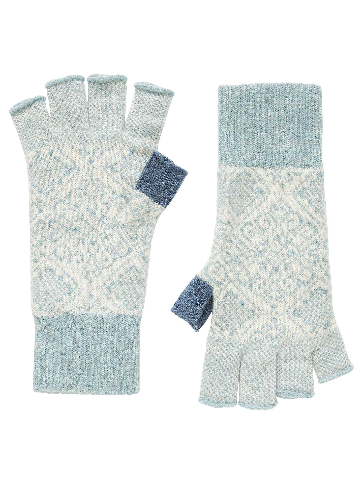 Brora Cashmere Nordic Fingerless Gloves, Haar/Swan at John Lewis ...