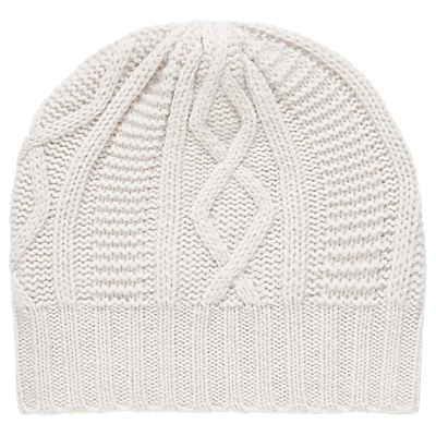 Brora Cashmere Aran Knit Beanie, Platinum