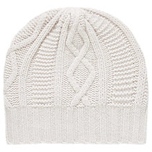 Buy Brora Cashmere Aran Knit Beanie, Platinum Online at johnlewis.com