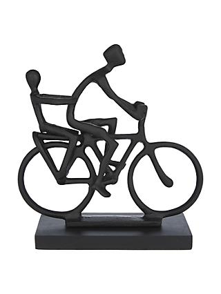 John Lewis & Partners Cyclist With Child Sculpture, Black
